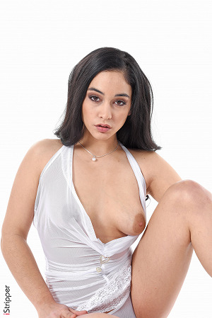 Ginebra Bellucci Wearing See-Through White Lingerie #4